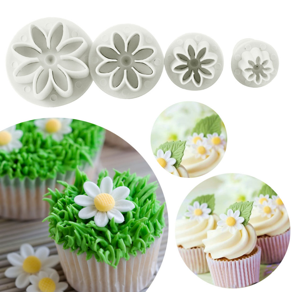 4pcsset Daisy Flower Cookie Sunflower Plunger Cutter Sugarcraft