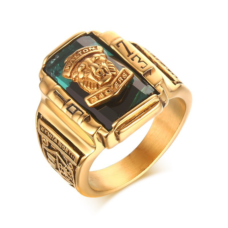 Fashion Vintage Gold Metal Black Blue Red Crystal Ring 1973 Walton Tigers Navy Signet