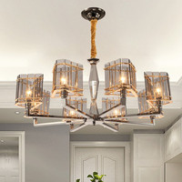 Post Modern Glass Shades Gold Plated Chandelier E14 Led Bulb Light Lamp Luxury Art Suspension Lighting