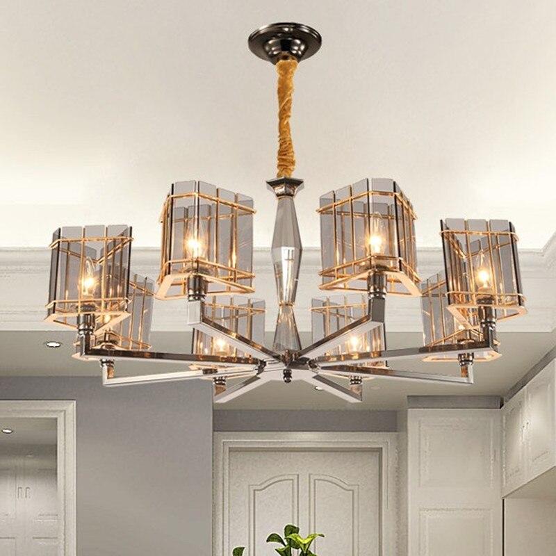 Lampadaire moderne en verre plaqué or lustre E14 Led ampoule lampe de luxe Art Suspension luminaire Luminaria Lampara