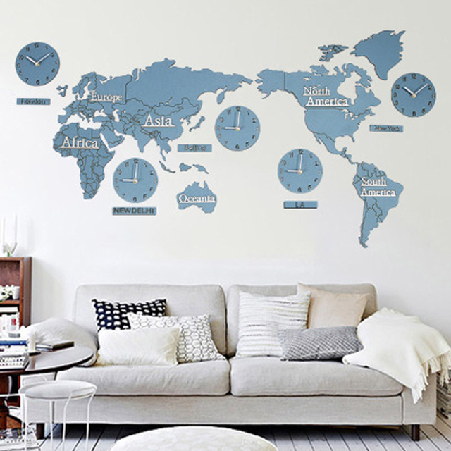 Big Diy World Map Wall Clock Modern Design 3d Stickers Decoration