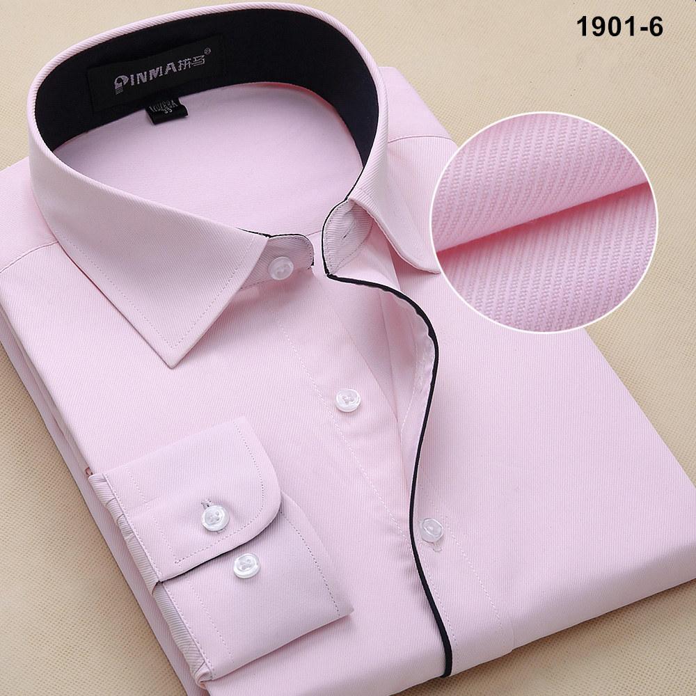 Новое поступление, весенняя и осенняя мужская брендовая одежда, одноцветная мужская приталенная рубашка с длинным рукавом, мужские рубашки, деловые рубашки - Цвет: 19016