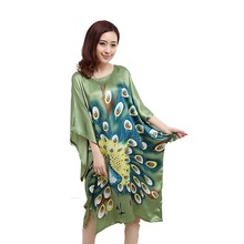 Wholesale Chinese Women Faux Silk Robe Dress Vintage Printed