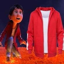 Костюм из фильма Коко Мигель для косплея, красное пальто с капюшоном, свитер, толстовки для взрослых и детей