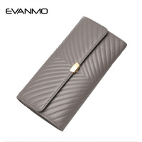 Elegant Women Long Wallets Soft Leather Hasp Money Purse Fashion Style Card Holder Genuine Leather Clutch Bag Female Purse