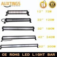 1222324252 inch dual row straight led work light bar 72W 120W 180W 240W 300W offroad car led light bar combo 4x4 SUV ATV