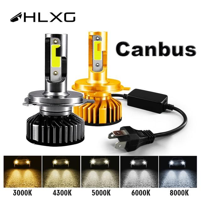 HLXG Mini Canbus lampada H4 H7 LED Phare De Voiture 12 V 10000LM 4300 K 6000 K 8000 K Lampe H3 H1 9005 HB3 9006 HB4 H8 H11 ampoule