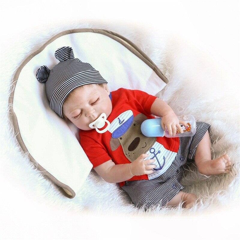 48cm Reborn poupée souple en silicone corps reborn bébé et poupée vêtements garçon poupées belle couchage bébé modèle poupée cadeaux de noël