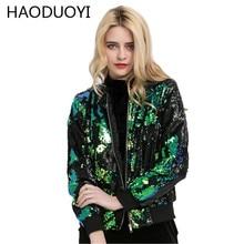 HAODUOYI European Style Fashion Women Green Bling Zipper Baseball Jacket Female All-match Sequin Bomber Coat Solid Streetwear