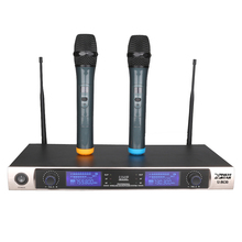 цена на Professional UHF Karaoke Wireless Microphone System Dynamic Vocal Dual Handheld Transmitter Mic 2 Cordless Mike For Audio Mixer