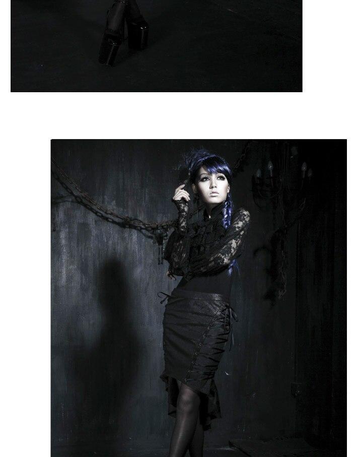 Панк рейв Мода Новинка Лолита для женщин Топ Футболка кружево Blace T290
