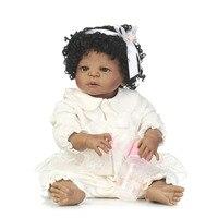 Bebe 57 см всего тела силиконовые возрождается для маленьких девочек игрушки куклы реалистичные черный для девочек куклы для детей подарок на
