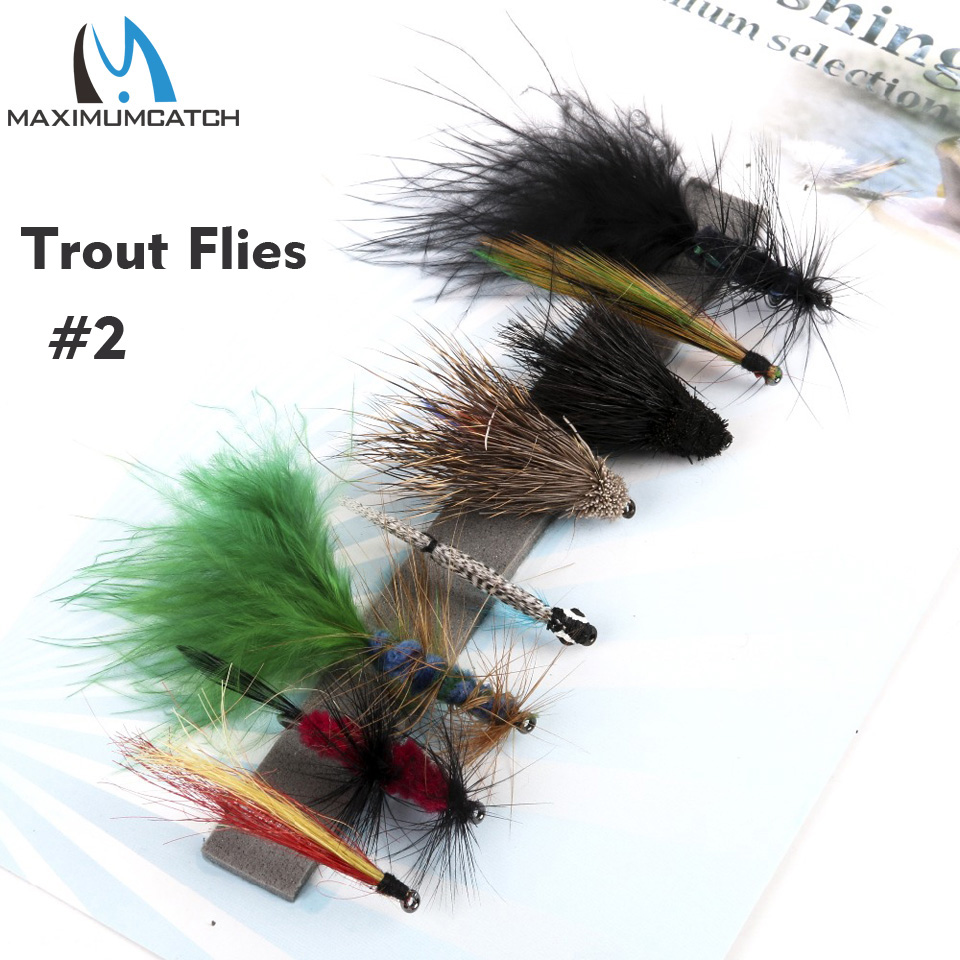 Maximumcatch 2# Trout Flies Fly Fishing Flies Hook Streamer Trout 8 Patterns Assortment redfish seatrout fly assortment collection of 6 holly flies