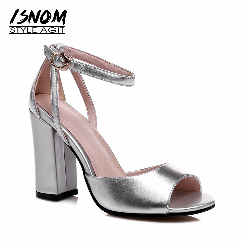 ISNOM 2019 Women Sandals Genuine Leather Heel Women Shoes Ankle Strap Summer Sandals Peep toe Thick