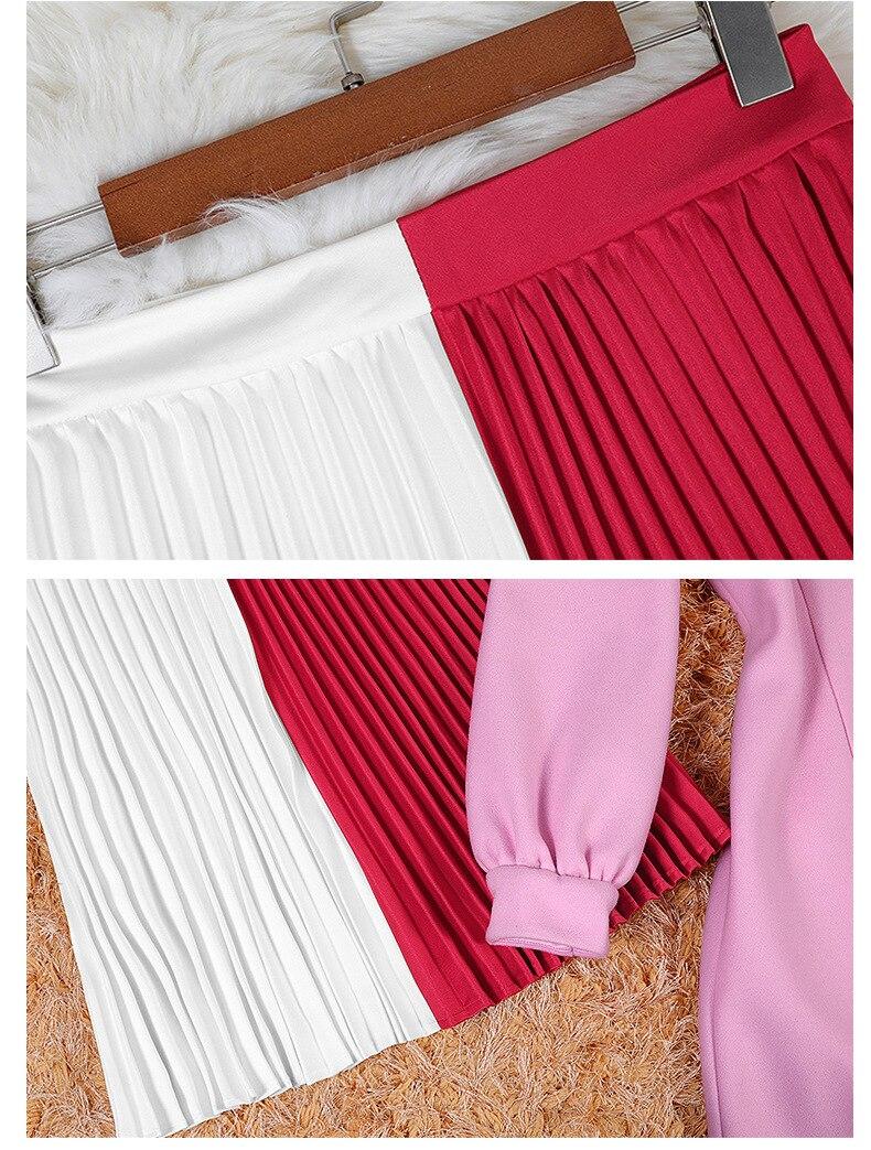 Femmes Costume Hiver pièce À Plissée O Automne Tricot cou 2018 Longues C2956 Chandail Tricoté Manches Jupe Deux Robe Pull Rose qtndX