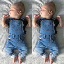 Модный джинсовый комбинезон для маленьких девочек; брюки на подтяжках с карманами для малышей; Детский Повседневный джинсовый комбинезон; комбинезон для подвижных игр