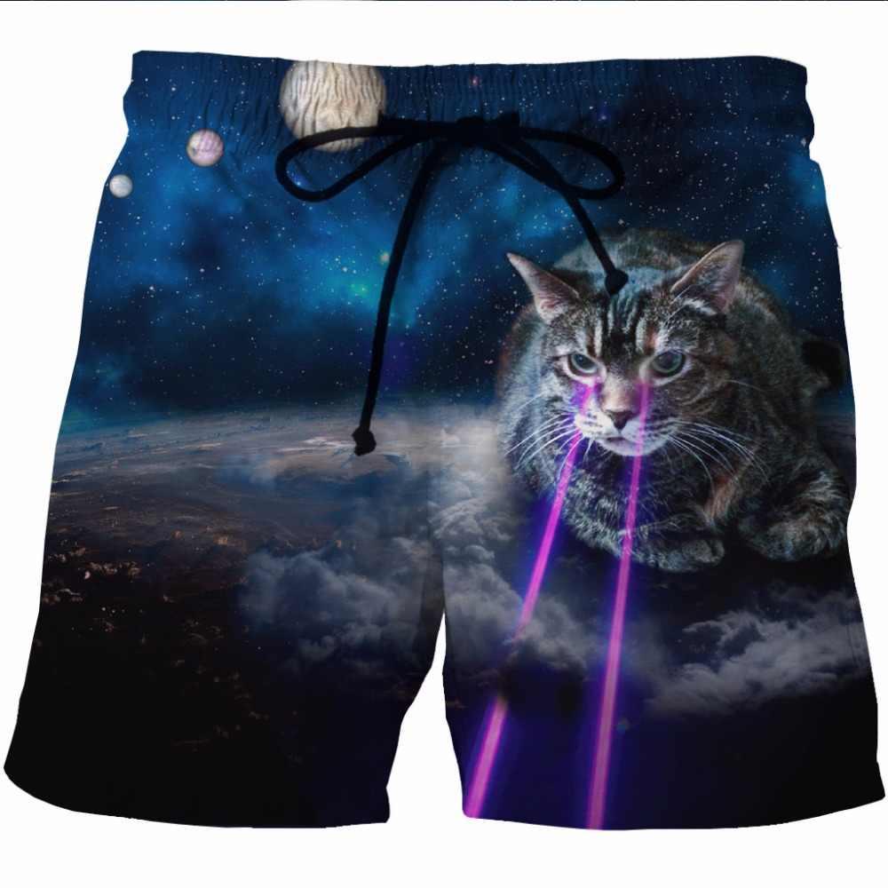 Mens Moderno Bonito 3D Gato Impresso Praia Board Shorts Troncos 2018 verão Quick Dry Boardshorts Homens Hip Hop Marca Calções de Praia Desgaste