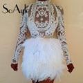 SoAyle vestido de festa 2016 Ball Gown Tulle Grey Beaded Tiered Tea Length Formal Prom Dresses with Feathers Vestidos De Festa