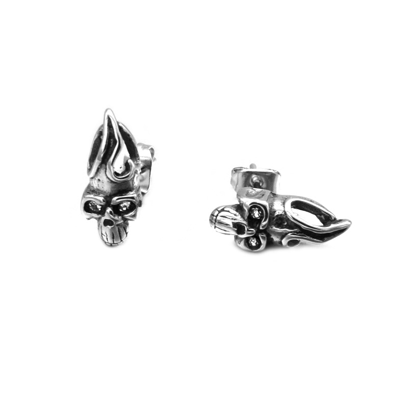 US7 1 Pair Punk Vintage Mens Pendientes 316L Stainless Steel Egyptian Pharaoh Skull Crystal Stud Earrings For Men Jewelry