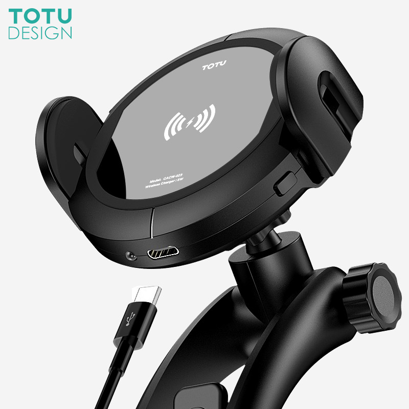 TOTU Qi Wireless Car Charger Mobile Phone Holder For iPhone Samsung Automatic Phone holder Stand Fast