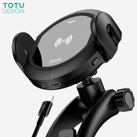 TOTU Qi Wireless Car Charger Mobile Phone Holder For iPhone Samsung Automatic Phone holder Stand Fast Charging For Xiaomi Huawei