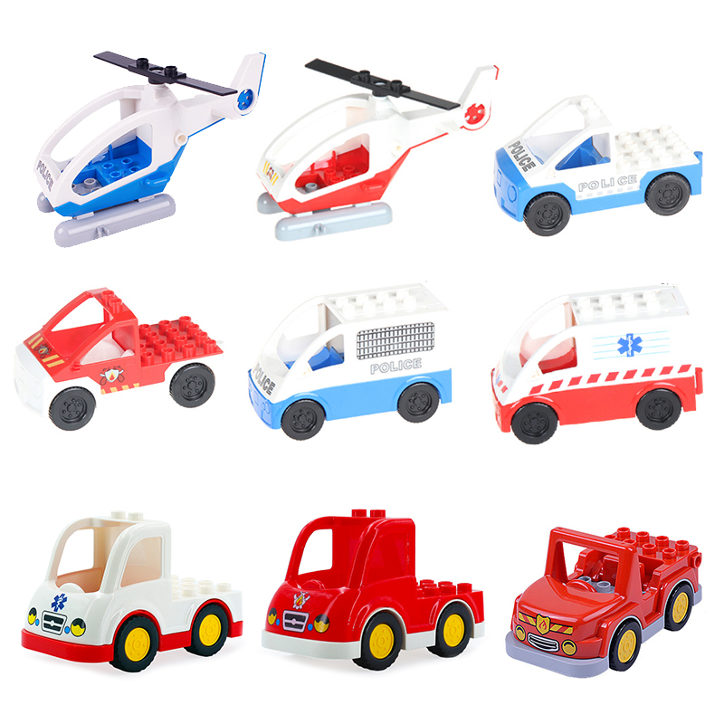 aircraft Fire Helicopter Big Building Blocks Car Accessory Kid Education DIY Toy for Children Gift Compatible With Duplo traffic rome arch bridge puzzle education science mechanics diy toy for kid montessori learning education building blocks for children