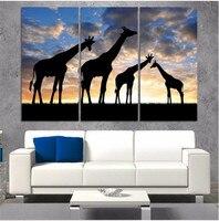 3 sztuk/zestaw Afrykański Krajobraz Zwierząt Żyrafa Nowoczesne Wall Art Wiszące Obraz Obraz Olejny Na Płótnie Wysokiej Jakości Home Naklejka