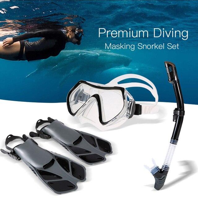 5dd2ce23bdd Lixada Anti-fog Goggles Mask Snorkeling Goggles Combo Set Snorkel Tube Fins  Swimming Fins Dry