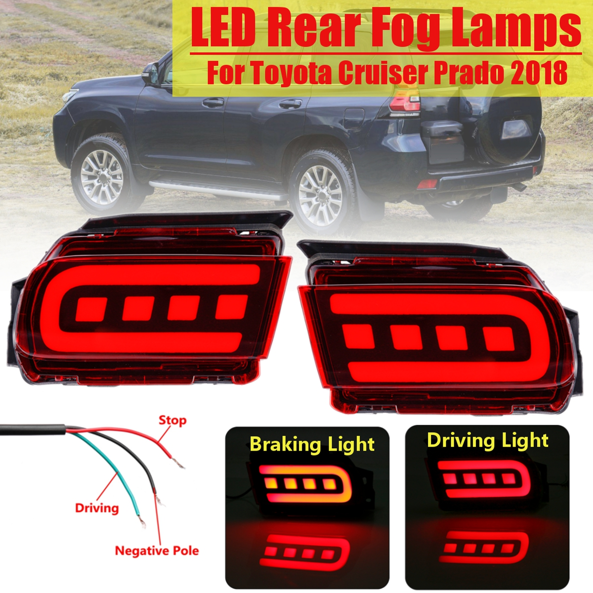1 Pair Rear Car Styling Head Brake Lamp Taillight Bumper Reflector Tail LED Taillight Tail Light Lamp Stop Light For Prado 18~19 rear brake light tail light stop light taillight warning light lamp for suzuki swift 2005 2016