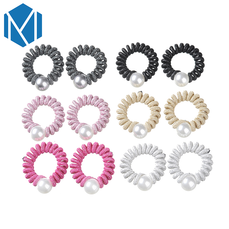 M MISM 1Pair Women Telephone Wire Spiral Hair Bands Big Imitation Pearl Solid Gum Scrunchy Ponytail Holders Hair Tie Accessories