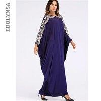 Summer Oversized Dress 2019 Women Blue Embroidery Shoulder Batwing Sleeve Kaftan Robe Indonesia Saudi Arabia Turkey Caftan D466