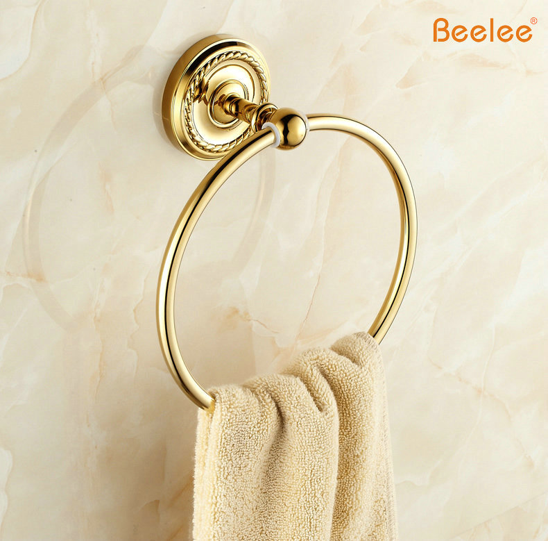 Beelee BA6111G Nice wall mount Towel Ring/Towel Holder,towel rack Solid Brass Construction,Golden finish,Bathroom Accessories towel rings wall mounted towel holder towel ring solid brass construction antique bronze finish bathroom accessories hj 1808