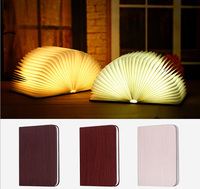 USB Rechargeable LED Magnetic Foldable Wooden Book Lamp Night Light Desk Lamp for Christmas Gift Home Decor