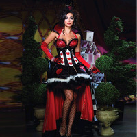 Adult Alice In Wonderland Party Sexy Red Queen Of Hearts Costumes Women S Fantasias Dress Movie