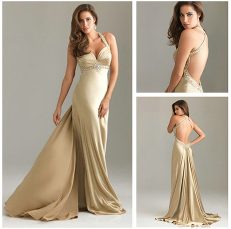 2013 Best Selling Beaded Halter Sheath Satin Backless Evening Gown Gold Long Dresses - Best-Giving Dress Co.,Ltd store