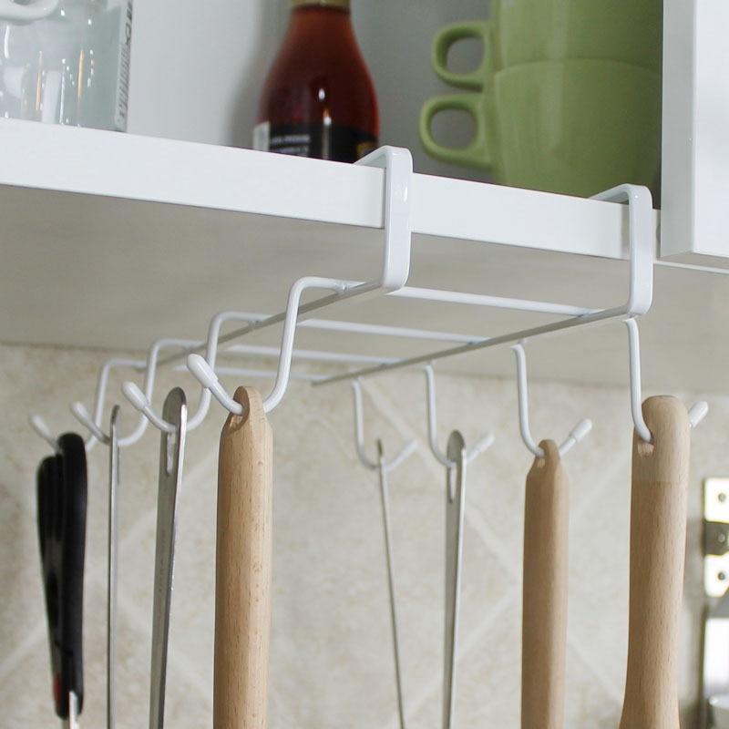Mug Rack Stainless Steel Hanger Hooks Cupboard Coffee Cup Holder Drainer Kitchen Storage Closet Under Shelf 8 Hook Cabinet Gl In Holders Racks