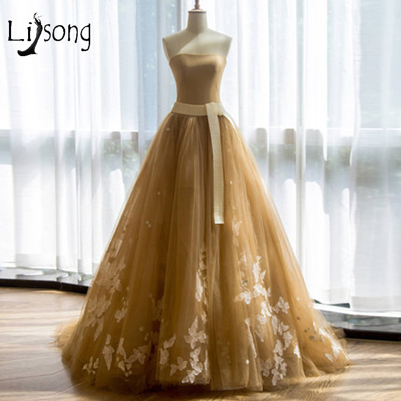 Pretty Old Gold Tulle Prom Dresses 2018 With Stars Appliques Sash A