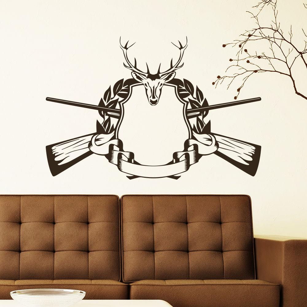 wall decal hunting deer rifle antlers decals bedroom decor sticker murals 22inchx33inchchina mainland - Hunting Bedroom Decor