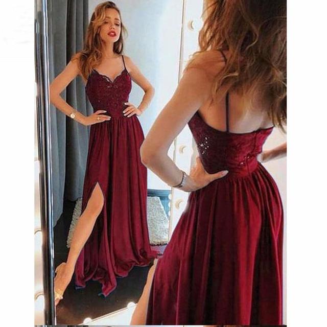 cd3bcf9ab Burgundy 2019 Sexy V Neck Evening Dresses Long Spaghetti Straps Front Slit  Pleat Chiffon Women Evening Gown