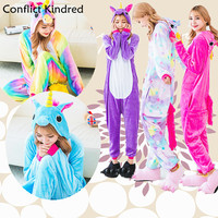 Christmas New Rainbow Unicorn Ones Women Pajama Flannel Cartoon Cosplay Adult Unisex Homewear For Adults Animal