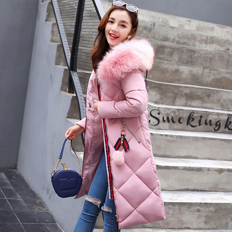 2017 NEW HOT SALE WOMEN WINTER JACKER MID-LENGTH LARGE FUR COLLAR HOODED THICKEN WARM FEMALE PARKAS COTTON WADDED ZL607