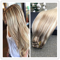 Full Shine Balayage Clip in Human Hair Extensions 100g Per Set Color 18 Ombre Color 22 Fading to Color 60 Real Human Hair