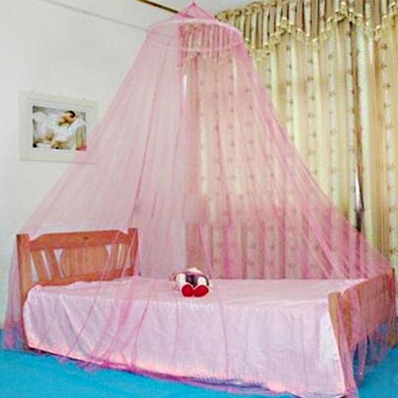 Элегантный круглый кружева насекомое навес балдахин занавес купол москитная сетка - Цвет: Pink