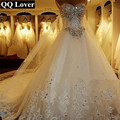 QQ Lover 2017 New Bandage Tube Top Crystal Luxury Wedding Dress Bridal gown wedding dresses vestido de noiva Robe De Mariage