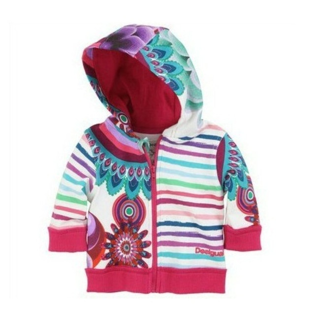 New Baby hooded coat Girls peacock print jacket princess stripes Hoodie coat Sweatshirts children's coats Wholesale
