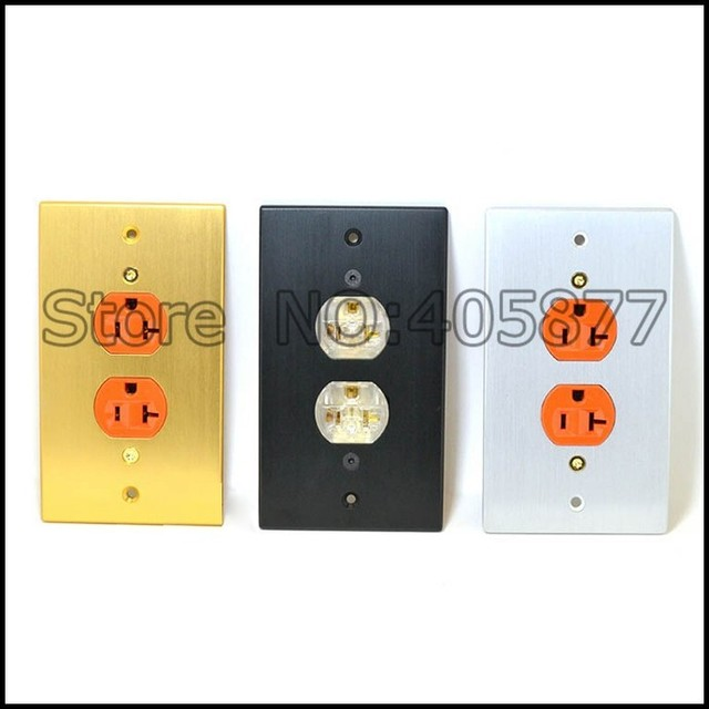 One Gold Plated AC US Power Receptacles wall outlet Socket ...