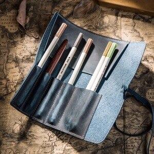 Image 2 - עור אמיתי קלמר עיפרון מחזיק עור נייח פאוץ עבור סטודנטים ואמנים בית ספר משרד Chancery