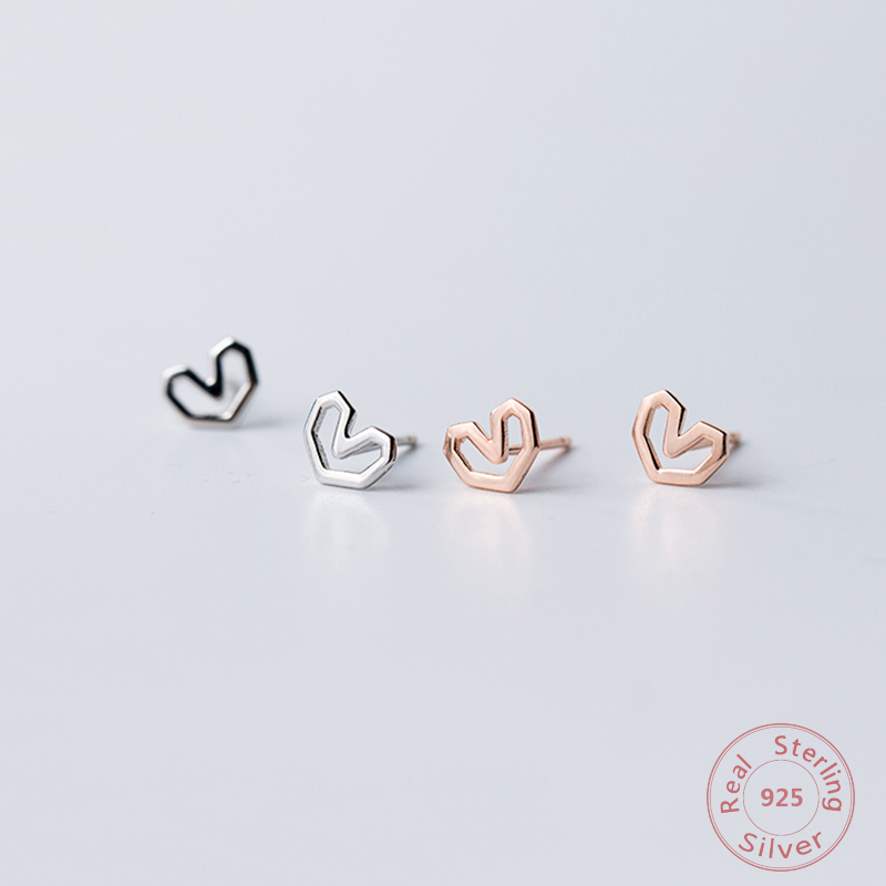 Minimalist 925 Sterling Silver For Women Simple Geometric Small Heart Stud Earrings 585 Rose Goid Color Fashion Female Gifts Je