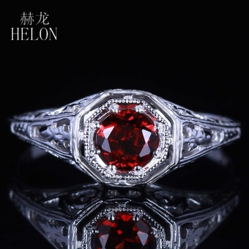 HELON Real 10K White Gold Flawless 0.8CT Round Genuine Natural Garnet Vintage Carving Engagement Wedding Women Fine Jewelry Ring image