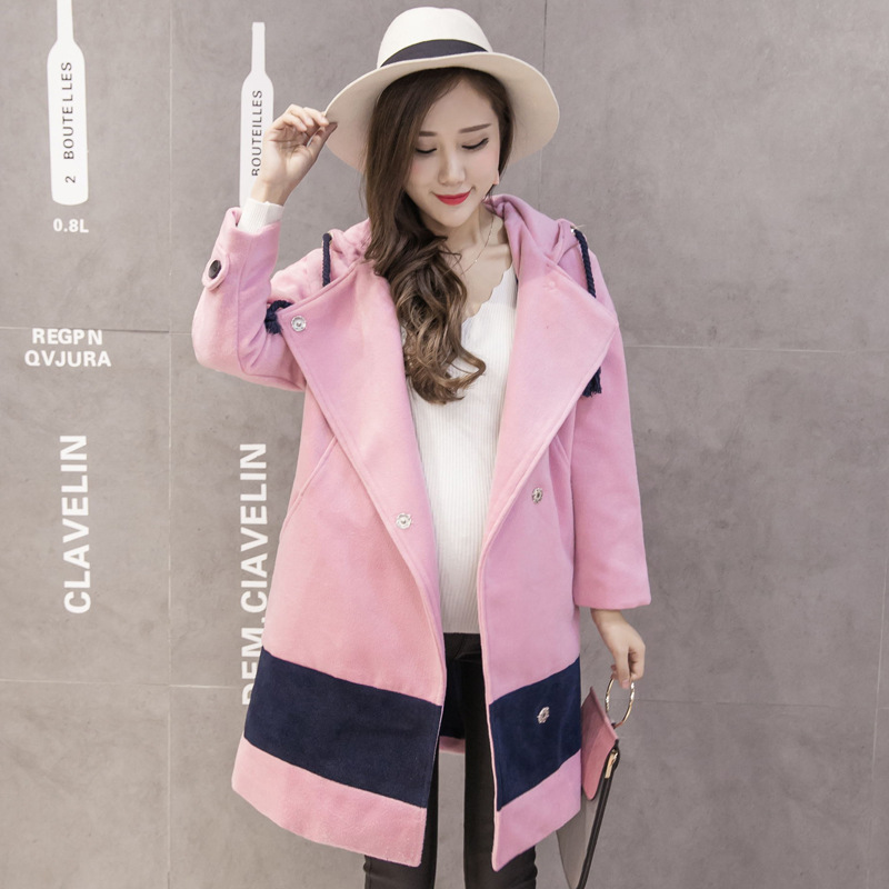 Pink Thick Warm Woollen Coat Ladies' Plus Size Outwear Woollen Overcoat Women Clothing Big Collar Hooded Maternity Winter Coats 2017 new long winter jacket women warm thick large faux fur collar hooded women coats plus size coat parka outwear pw0781